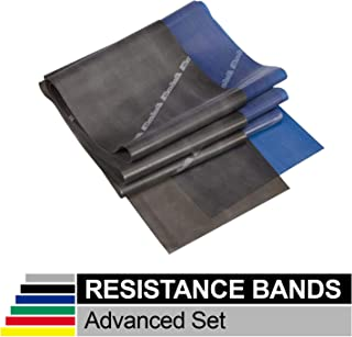 TheraBand Resistance Band Set, Professional Latex Elastic Bands for Upper & Lower Body & Core Exercise, Physical Therapy, Lower Pilates, at-Home Workouts, and Rehab, Blue & Black, Advanced