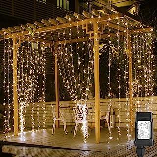 LED چراغ پرده LED، چراغ 9.8x9.8ft، 306 LED، 8 حالت، چراغ خیط و پیت کردن، سفید گرم، پنجره داخلی دیوار تزئینی در محیط داخلی چراغ رشته ای برای اتاق خواب، مهمانی، عروسی، دکوراسیون سالن و غیره