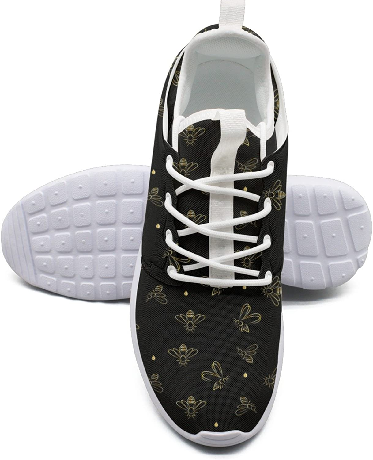 Bees On Black Background Women's Lightweight Mesh Tennis Sneakers Cool Boat shoes