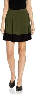 Star Vixen Women's Plus Size Stretch Ity Colorblock Hem Swingy Full Skater Skirt