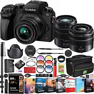Panasonic LUMIX G7 4K Digital Mirrorless Camera 2 Lens Kit LUMIX G Vario 14-42mm F3.5-5.6 II ASPH + 45-150mm F4.0-5.6 DMC-G7WK Pro Bundle with Deco Gear Bag Monopod Filter Kit Software & Accessories