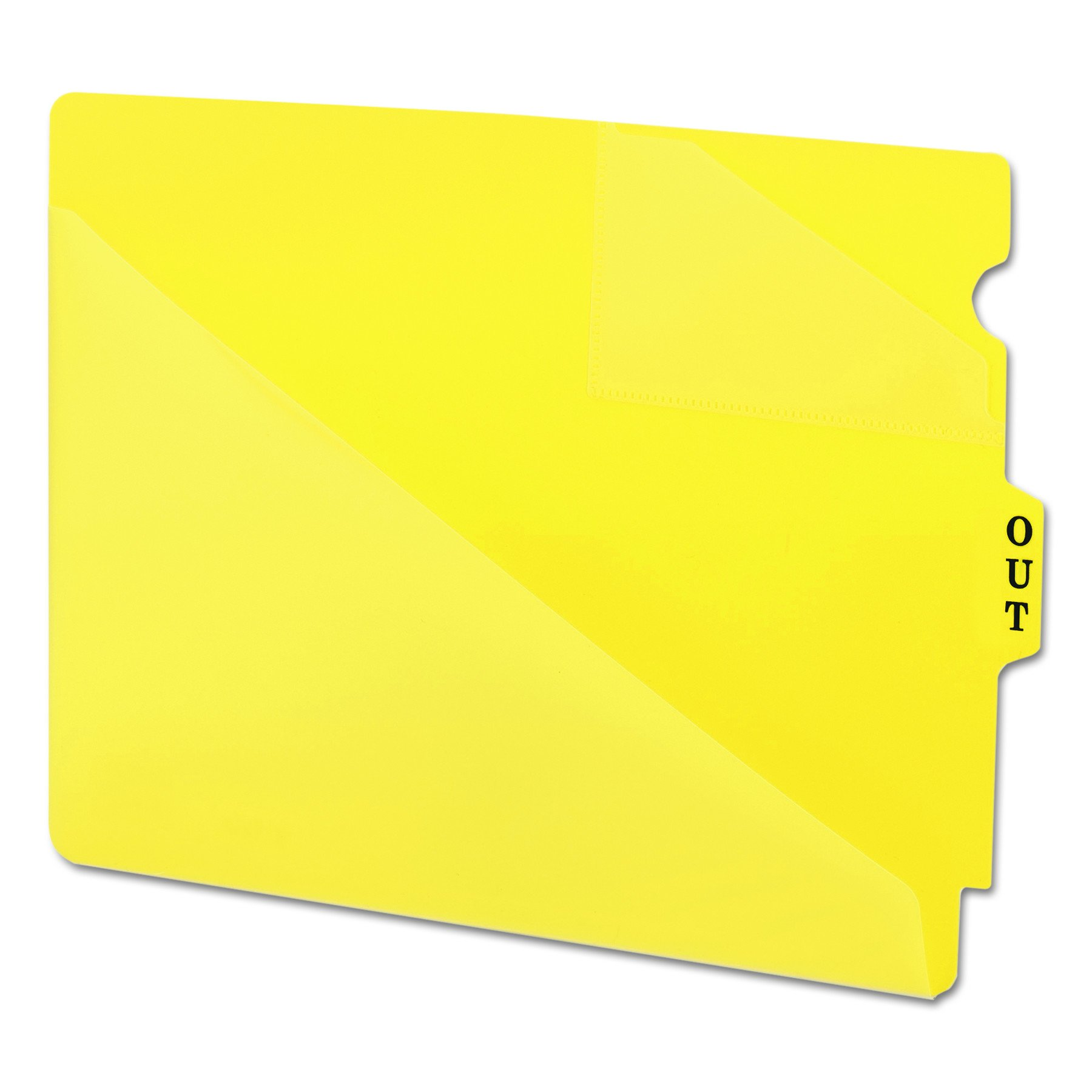 Smead 61966 Out Guides w/Diagonal-Cut Pockets, Poly, Letter, Yellow (Box of 50)