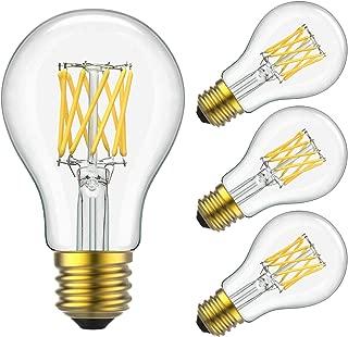 Yiizon LED Filament Bulb 10W (100W Equivalent), Classic Edison A19/A60 LED Light Bulbs, E26 Medium Base Lamp, 4000K Daylight (Neutral White), 1000 Lumens,Dimmable LED Edison Bulbs, Pack of 4