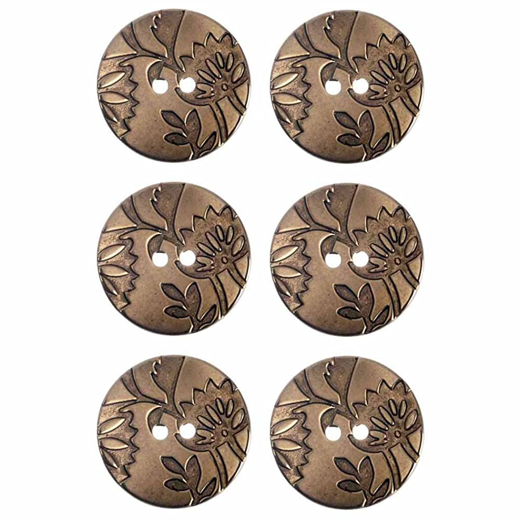 Mibo ABS Metal Plated Floral Design 2 Hole Button Assorted Size & Color Packs Antique Gold 28 mm 6-Pack