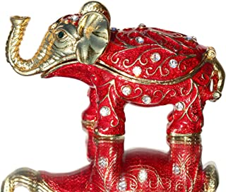Waltz&F Red Pattern Elephant Trinket Box Hinged Hand-Painted Figurine Collectible Ring Holder with Gift Box