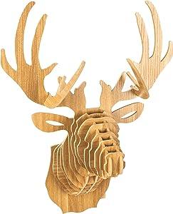 bambuswald XL Tierkopf aus Holz - Trophäe/Deko in 3D Optik - Hirsch 40x25x55 | Baby- & Kinderzimmer | Wandschmuck & Wanddekoration| Wandpanel Tiertrophäe Wandskupltur Kopf + DEUTSCHE Anleitung