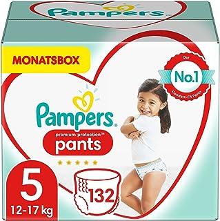 Pampers Baby Windeln Pants Größe 5 (12-17kg) Premium Protection, 132 Höschenwindeln, MONATSBOX, Weichster Komfort Und Einf...