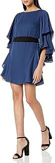 Halston Heritage womens Flutter Sleeve Boatneck Shift Dress with Sash Cocktail Dress