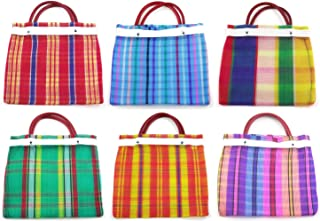 Small Mexican Tote Bags 7.5 by 7.5 inches - Assorted Colors - Set of 6