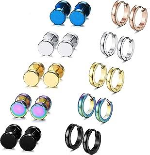 10 Pairs Stainless Steel Hoop Stud Earrings for Men Women Cool Gauge Earring Set