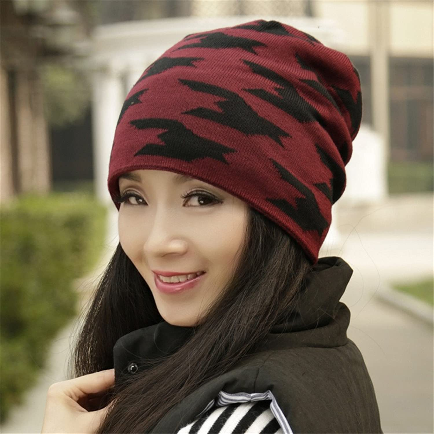 Autumn Winter hat Female Fashion Baotou Warm Knitted hat hat for Student Couples Head Circumference  56cm58cm,Lining with Velvet, Heat Preservation and Good Elasticity,Claret