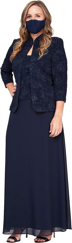 Alex Evenings Women's Plus Size Long Dress with Mandarin Neckline Jacket