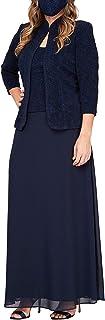 Women's Plus Size Long Dress with Mandarin Neckline Jacket