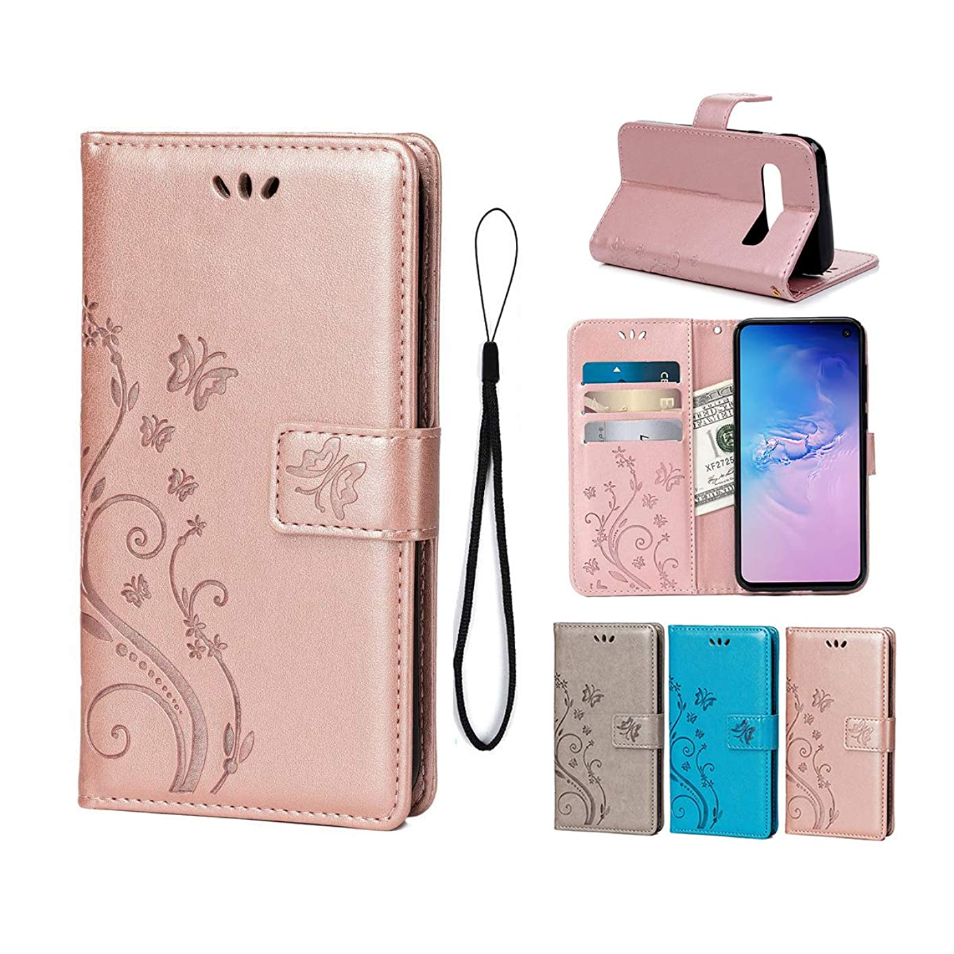 Wallet Case for Samsung Galaxy S10E, PU Leather Flip Cover Butterfly Flowers with Card Holders Magnetic Stand Case for Samsung Galaxy S10E-Rose Gold