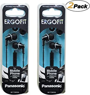 Panasonic Earbud Headphones with Mic and Controller (RP-TCM125-K), Black [2Pack]