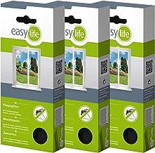 easy life® vliegenhor voor ramen 3,00 x 1,50 m antraciet transparant - perfecte bescherming tegen insecten (set van 3)