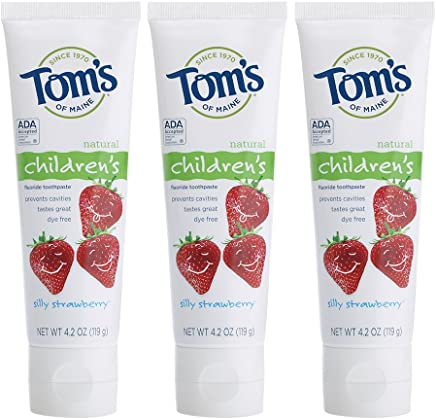 Tom's of Maine Anticavity Fluoride Children's Toothpaste, Silly Strawberry, 4.2 Ounce, 3 Count