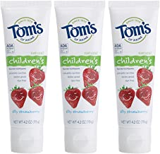 Tom's of Maine Anticavity Fluoride Children's Toothpaste, Kids Toothpaste, Natural Toothpaste, Silly Strawberry, 4.2 Ounce, 3-Pack