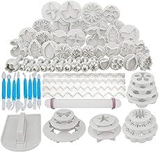 Kitchen-dream Juego de herramientas de fondant, 44 piezas de herramientas de decoración de pasteles, kit de herramientas de artesanía de azúcar de cortadores de hielo de fondant