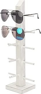 MyGift Vintage White Wood 5-Pair Sunglasses Display Stand, Tabletop Retail Eyewear Rack