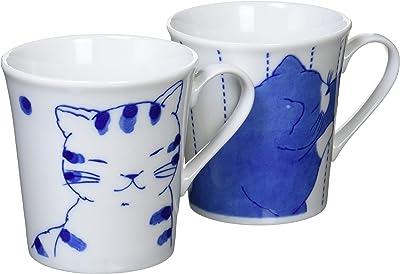 セラミック藍 仲良し猫 ペアマグカップ 黒猫くん/とら猫くん サイズ:約φ8.8 H9.3 13160