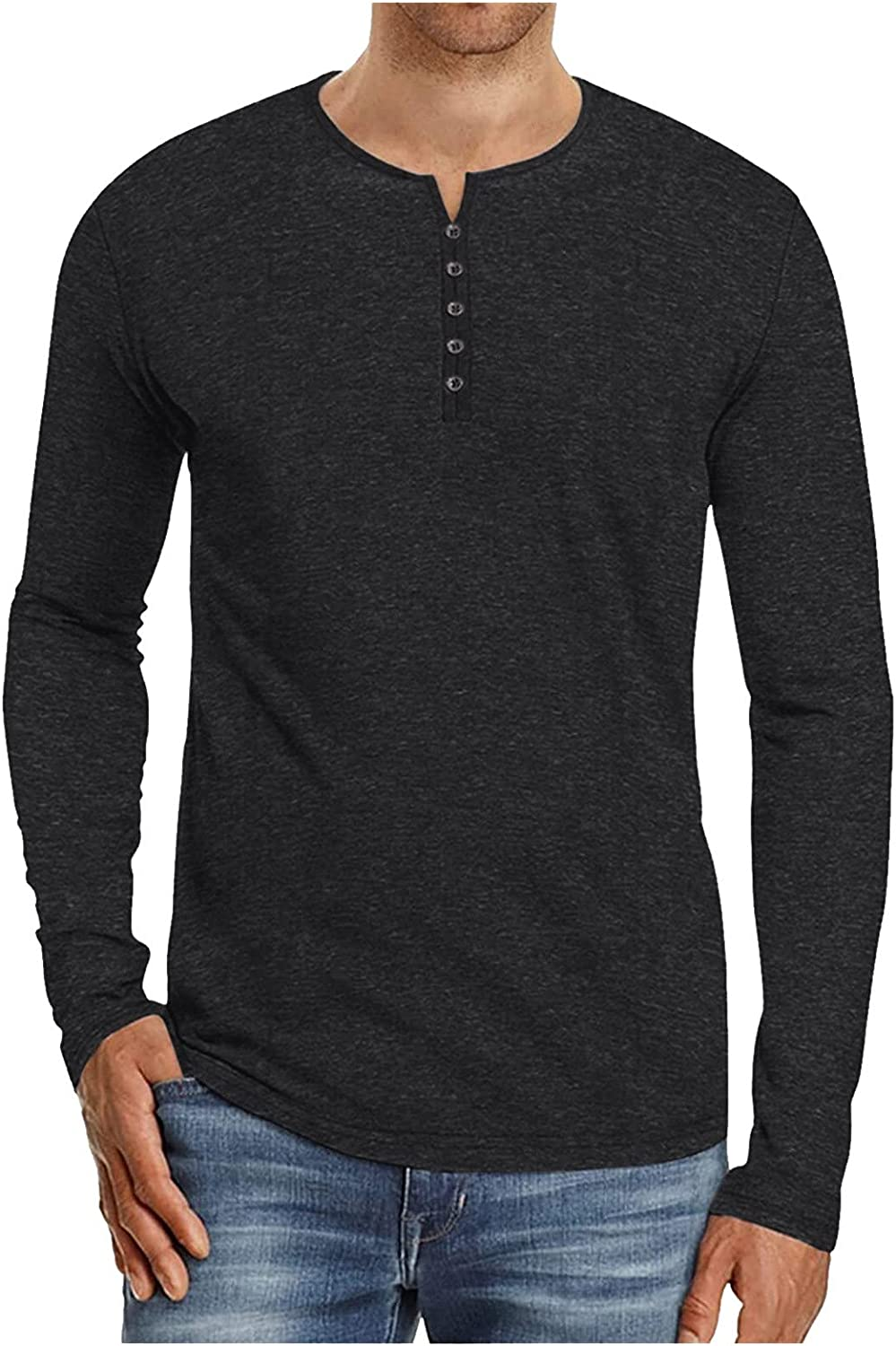 Men Long Sleeve Tee Shirts Henley Shirt Casual Loose Lightweight Button T-Shirts Solid Color Top Autumn Winter Clothes