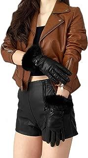 GSG Ladies Leather Gloves Rabbit Fur Gloves Mittens Women Touch Screen Driving Gloves