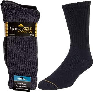 Mens Socks (3 Pairs) Cotton Socks, Moisture Wicking Socks, Mens Dress Crew Socks Fit Over The Calf