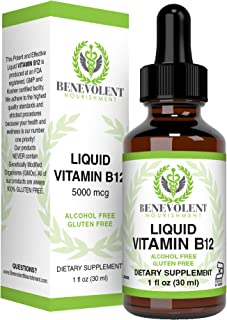 Vitamin B12 Liquid Drops - Potent & Effective 5000 mcg per Serving. Fast Absorbing Sublingual Formula - Delicious Raspberry Flavored Dietary Supplement for All Family- 100% Alcohol & Gluten Free
