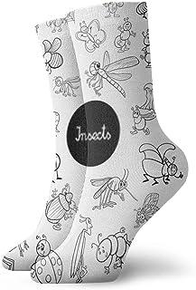 AEMAPE, Calcetines Insectos de Dibujos Animados Conjunto de Animales Libro de Colorear Calcetines de Media tripulación de poliéster para Hombres