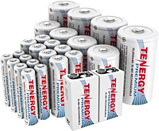 Tenergy Premium High Capacity NiMH Rechargeable Battery Combo Pack, Includes All Battery Sizes 8xAA 8xAAA 4xC 4xD 2x9V Rechargeable Batteries, 26 Pack