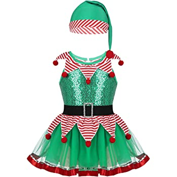iiniim Niña Disfraz de Elfo Vestido de Elfa Duende con Sombrero ...
