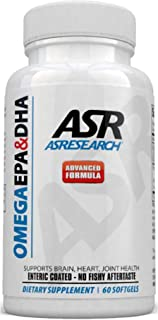 AS Research Omega 3 Fish Oil Supplement | EPA 400mg & DHA 300mg | Burpless Fish Oil 60 Softgels