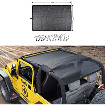 RT-TCZ Roof Top Mesh SunShade Bikini Top Cover UV Proof Protection Net for 1997-2006 Jeep Wrangler TJ