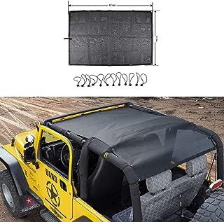RT-TCZ Roof Top Mesh SunShade Bikini Top Cover UV Proof Protection Net for 1997-2006 Jeep Wrangler TJ