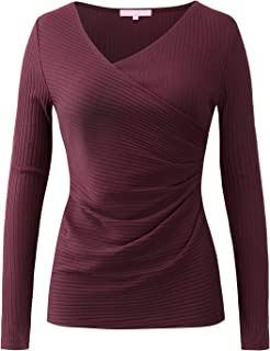 Regna X Women's Deep V Neck Long Sleeve Unique Cross Wrap Sexy Slim Fitted Going Out Tops for Women (S-3X, Plus Sizes)