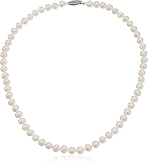 """Sterling Silver White Freshwater Cultured A Quality Pearl Necklace (6.5-7mm), 16"""""""