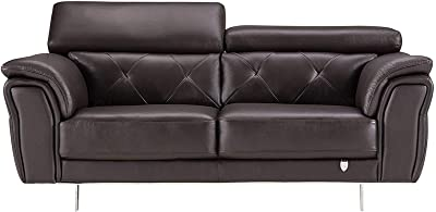Benjara Leatherette Loveseat with Diamond Design Backrest and Metal Legs, Brown