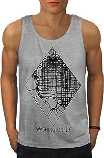 Wellcoda ワシントン 地図 ファッション 男性用 S-2XL タンクトップ