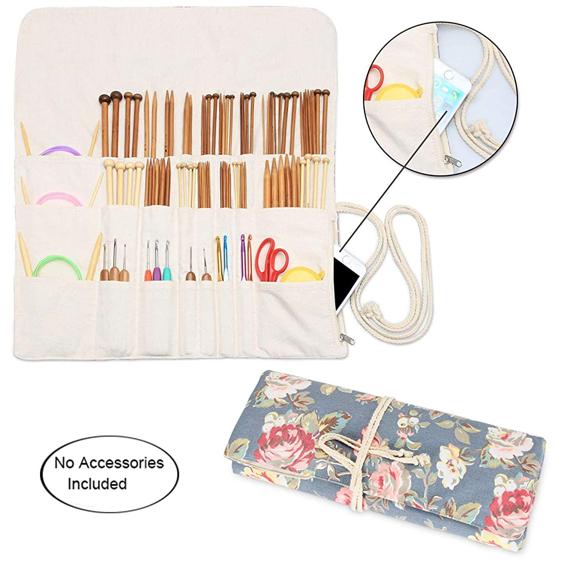 Teamoy Knitting Needles Holder Case(up to 14 Inches), Cotton Canvas Rolling Organizer for Straight and Circular Knitting Needles, Crochet Hooks and Accessories, Peony - NO Accessories Included
