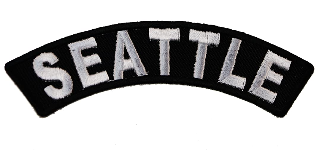 SEATTLE City Rocker Iron or Sew on Embroidered Biker Shoulder Patch D37