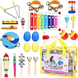 Toddler Musical Instruments - iBaseToy 23Pcs 16Types Wooden Percussion Instruments Tambourine Xylophone Toys for Kids Preschool Education, Early Learning Musical Toys for Boys Girls with Storage bag