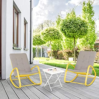 PHI VILLA 3 Piece Bistro Set Patio Rocking Chairs Outdoor Furniture Padded Warm Gray Cushions, Folding Metal Side Table for Garden, Pool, Backyard, Deck (Gold)