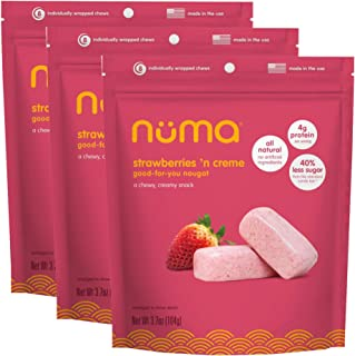 Sponsored Ad - Healthy Strawberries and Cream Soft Candy - Low Sugar, Low Calorie, All Natural Chewy Snack, 3g Protein per...