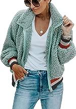 PRETTYGARDEN Women's Casual Long Sleeve Color-Block Lapel Zipper Loose Jacket Fuzzy Fleece Winter Coat Outwear with Pockets