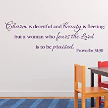 Teisyouhu Wall Decor Stickers Proverbs 31:30 Charm is Deceitful and Beauty is Fleeting Office Church Teen Girl Bible Mural Wall Art Decal Sticker for Men