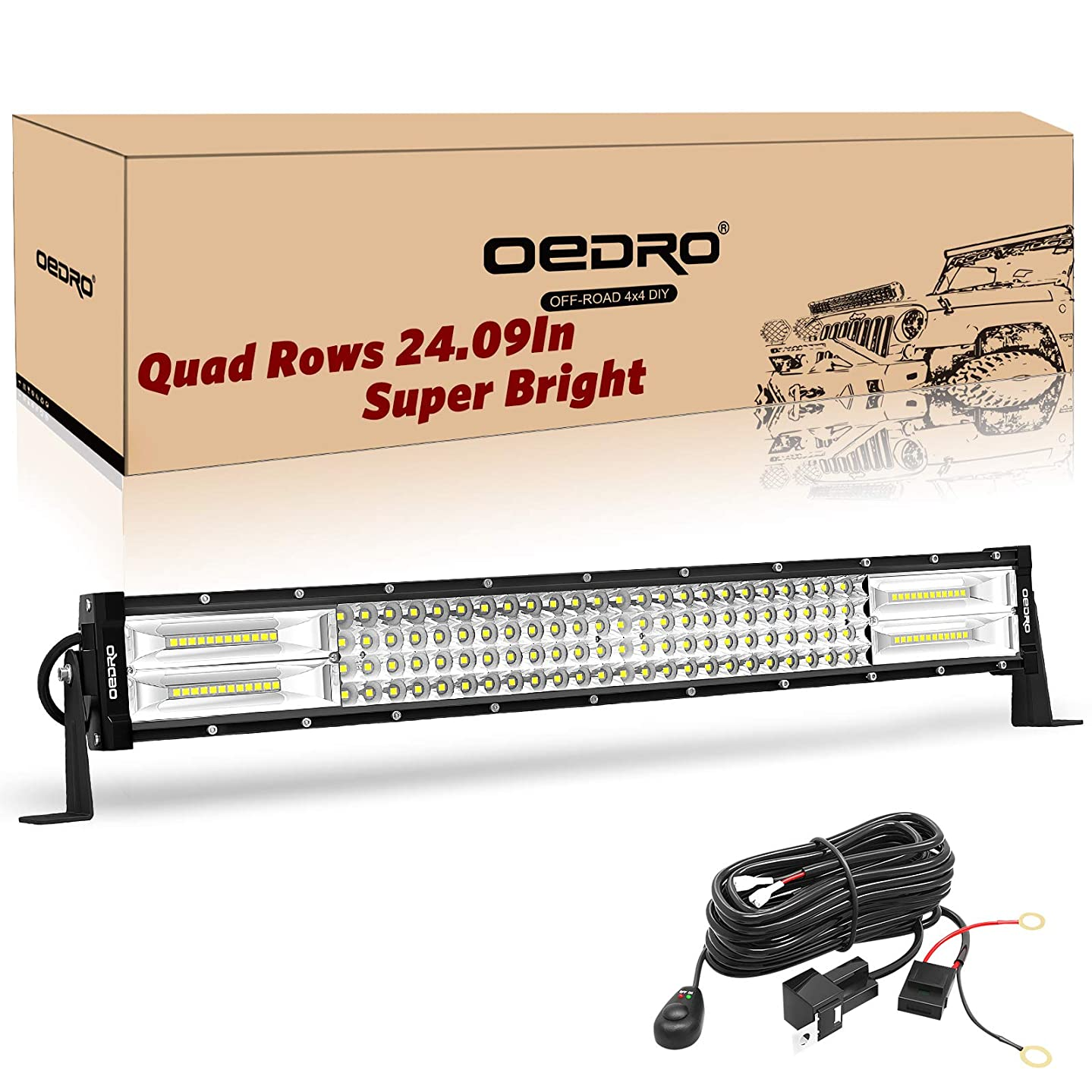 LED Light Bar Curved with Wiring Harness Quad-Row 22Inch 520W oEdRo Spot Flood Combo Led Lights Work Lights Fog Driving Light Off Road Light 12/24V Fit for Pickup Jeep SUV 4WD 4X4 ATV UTE TruckTractor