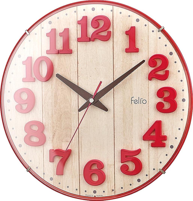 かまど吐くテキストFelio 置き時計?掛け時計 レッド (約) 高さ30.8×幅.30.8×奥行き5.7cm