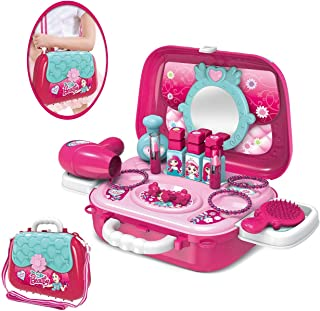 Pretend Play Makeup Toy Beauty Salon Set for Little Girls Kids with Crossbody Shoulder Bag, Princess Vanity Case Dress Up Toys for 3,4,5 yrs Toddlers Make Up Play Girl Birthday Gift Set (Makeup Kits)