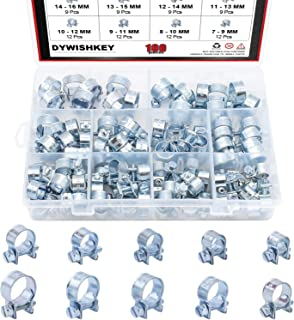 DYWISHKEY 100Pcs 10 Sizes Zinc Plated Mini Fuel Injection Line Style Hose Clamp Assortment Kit, Perfect for Automotive, Ag...